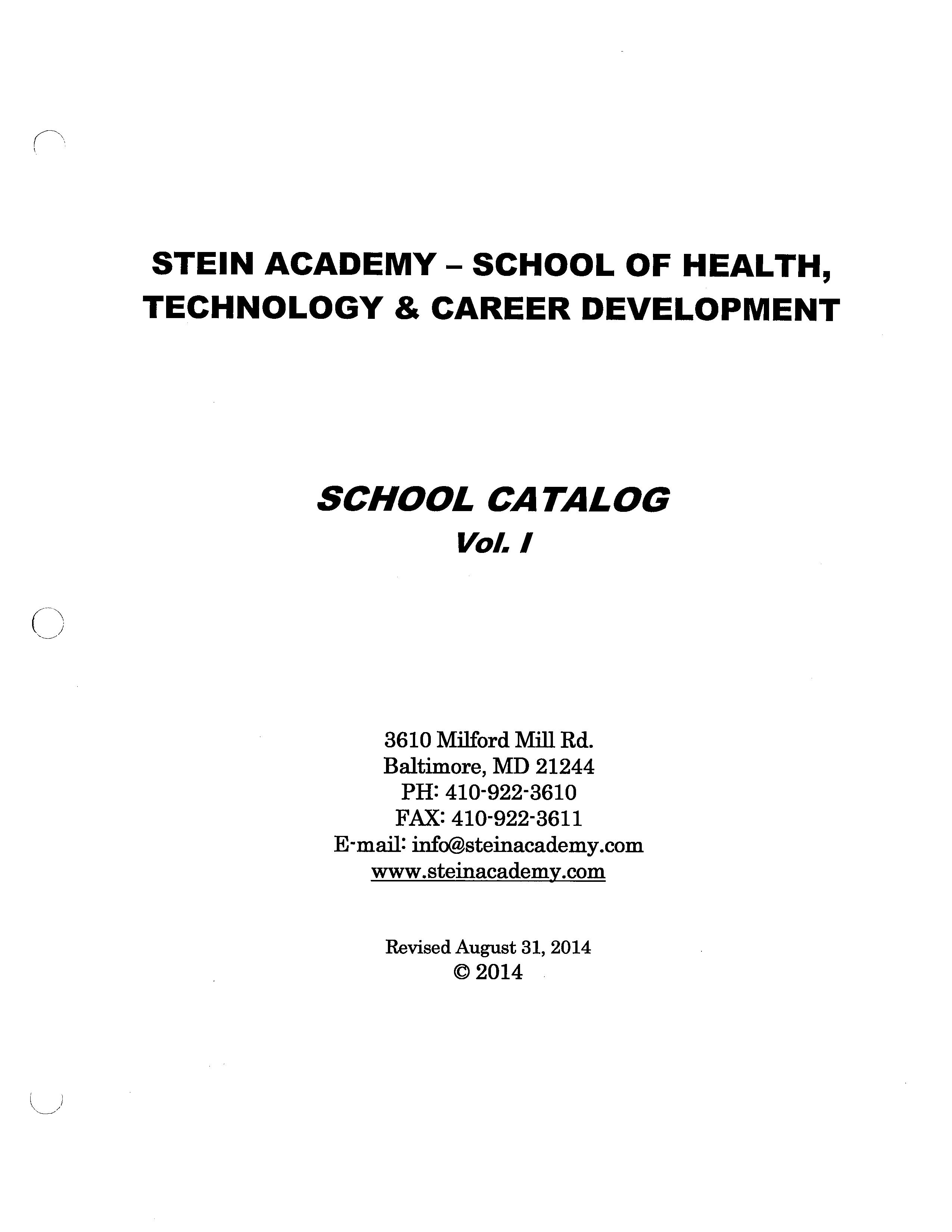 School Catalog Stein Academy Cna Training Phlebotomy And Med
